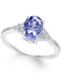 Macy's Tanzanite 1 1 4 Ct. T.W. And Diamond 1 8 Ct. T.W. Oval Ring In 14K White Gold