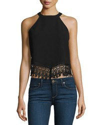 Glamorous Sleeveless Crop Top With Lace Trim Black