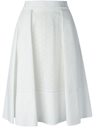 Salvatore Ferragamo Perforated A Line Skirt White