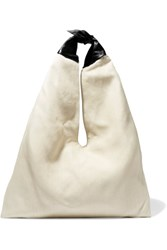 The Row Bindle Leather Trimmed Raffia Shoulder Bag Off White