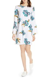 Halogen Bow Back Floral Shift Dress White Teal Multi Floral