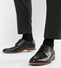 Asos Design Brogue Shoes In Black Leather With Natural Sole