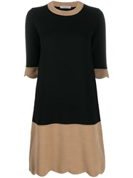 D.Exterior Two Tone Knitted Dress Black