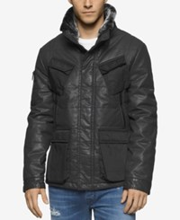 Calvin Klein Jeans Men's Coated Tank Jacket With Faux Fur Collar Black