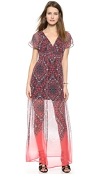 Twelfth St. By Cynthia Vincent Vintage Maxi Dress Coral Handkercheif Print