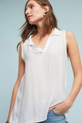 Anthropologie High Low Henley Top White