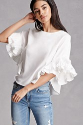 Forever 21 Accordion Dolman Sleeve Top White