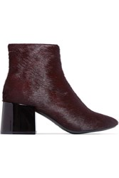 Maison Martin Margiela Mm6 Calf Hair Ankle Boots Burgundy
