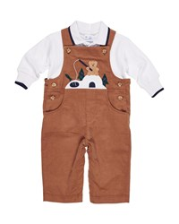 Florence Eiseman Corduroy Fishing Bear Overalls W Long Sleeve Polo Top Beige