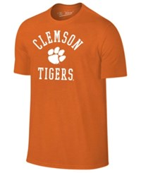 Retro Brand Men's Clemson Tigers Arch Logo Dual Blend T Shirt Orange