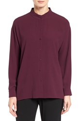 Eileen Fisher Women's Silk Georgette Crepe Stand Collar Blouse Raisonette