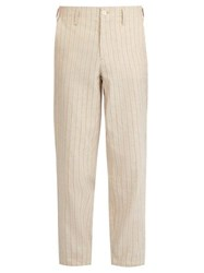 Etro Striped Linen Elasticated Waist Trousers Beige