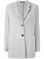 Eleventy Slim Fitting Single Breasted Blazer Grey
