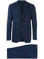 Tagliatore Checked Two Piece Suit Blue