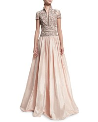 Naeem Khan Beaded Stand Collar Ball Gown Pale Pink Light Pink