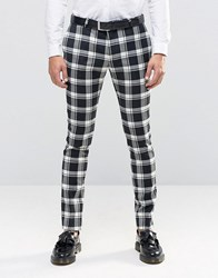 Noose And Monkey Super Skinny Trousers In Monochrome Check With Stretch Black