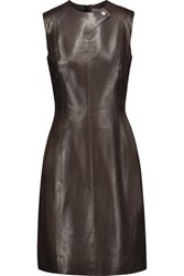 Jason Wu Leather Dress Dark Brown