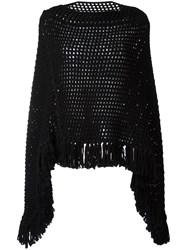 Saint Laurent Open Knit Poncho Black
