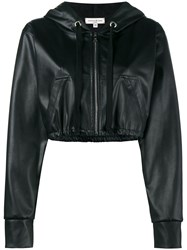 Natasha Zinko Cropped Faux Leather Hooded Jacket Black