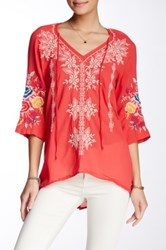 3J Workshop Embroidered V Neck Blouse Pink