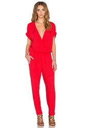 Velvet By Graham And Spencer Chandelle Damask Rayon Short Sleeve Cross Front Jumpsuit Red