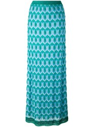 Missoni Crochet Knit Maxi Skirt Women Silk Polyester Spandex Elastane Viscose 42 Blue