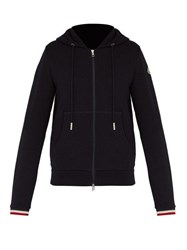 Moncler Tricolour Trimmed Cotton Jersey Hooded Sweatshirt Navy