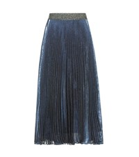 Christopher Kane Pleated Silk Blend Skirt Blue