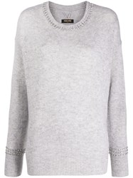Max And Moi Brilliant Embellished Neck Sweater Grey