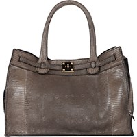Zagliani Women's Lizard Gatsby Small Tote Tan