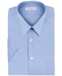 Van Heusen Poplin Solid Short Sleeve Dress Shirt Cameo Blue