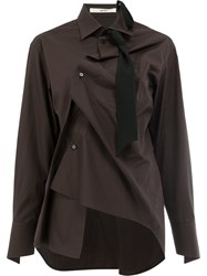 Aganovich Long Sleeved Twisted Shirt Cotton Brown