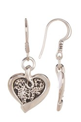 Lois Hill Sterling Silver Small Granulated Heart Drop Earrings Metallic
