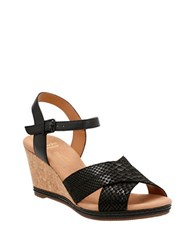 Clarks Leather Wedge Sandals Black