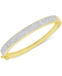 Macy's Diamond Pave Hinged Bangle Bracelet 1 Ct. T.W. In 18K Gold Plated Sterling Silver Or 18K Rose Gold Plated Sterling Silver Yellow Gold Over Sterling Silver