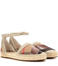 Burberry London England Abbingdon Suede And Fabric Espadrilles Brown