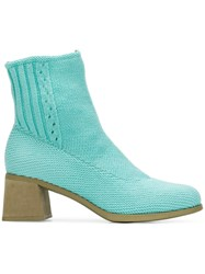 Camper Knitted Ankle Boots Blue