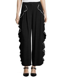 Adam By Adam Lippes Tipped Ruffle Trim Pants Black