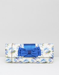 Lotus Floral Clutch Bag Blue Floral