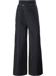Juun.J Button High Rise Waist Wide Leg Jeans Blue