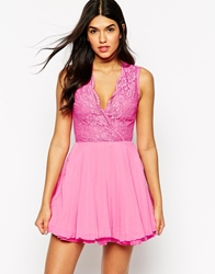 Ax Paris Lace Top Skater Dress With Full Skirt Pink