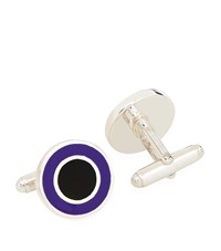 Carrs Of Sheffield Carrs Round Enamelled Sterling Silver Cufflinks Unisex