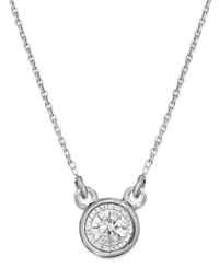 Trumiracle Diamond Bezel Pendant Necklace In 10K White Gold 1 10 Ct. T.W. None