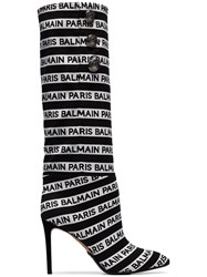 Balmain Black And White Jane 95 Knee High Boots