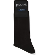 Pantherella Short Ribbed Cotton Socks Chocolate
