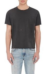 R 13 R13 Men's Destroyed Pima Cotton T Shirt Black