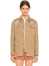 Red Valentino Birds Cotton Gabardine Field Jacket