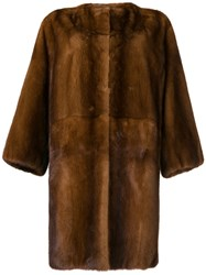 P.A.R.O.S.H. Oversized Fur Coat Brown