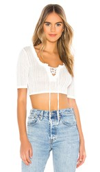 Bcbgeneration Lace Up Short Sleeve Top In White. Optic White