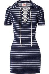 Solid And Striped The Polo Cotton Blend Terry Mini Dress Navy